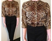 Vintage 1950s Leopard Satin Rock'n'Roll Dolman JD Top VLV M