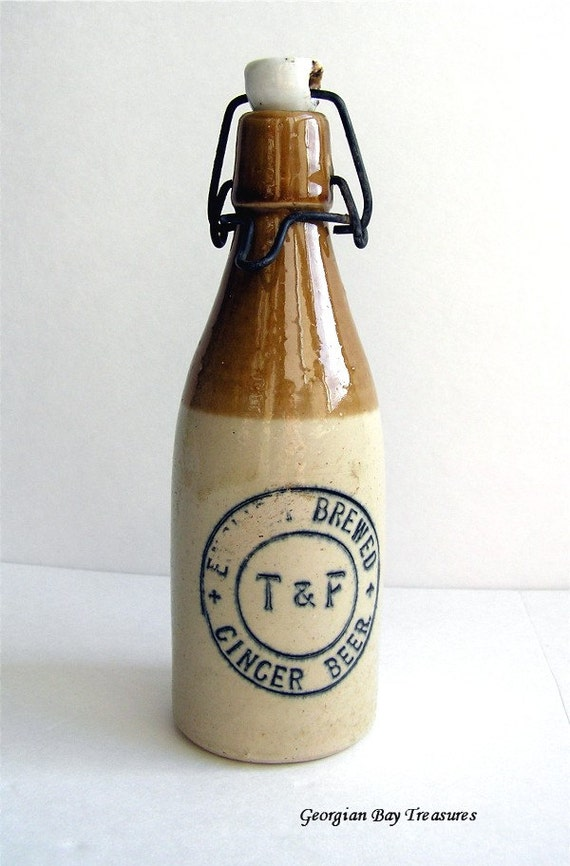 Vintage ginger beer bottle, stoneware, T and F, Thompson & Findlay, collector's item, home decor