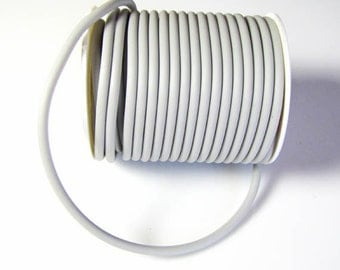 Rubber cord, 4mm, hollow tube, light gray, 10 feet