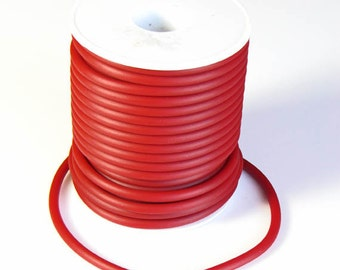 Rubber cord, 4mm, solid, dark red, 10 feet