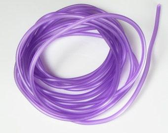 Rubber cord 3mm bright medium Orchid, luminous, hollow tubing, 10 feet