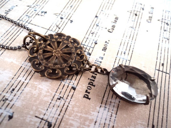 Vintage Charm Necklace - Vintage Charms Glass Jewel