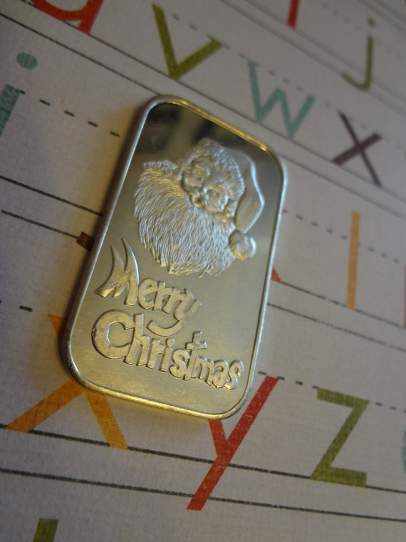 Santa 1 Oz Silver Art Bar Merry Christmas Silver By