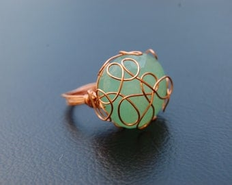 Copper wire freehand decor ring with jade  big bead