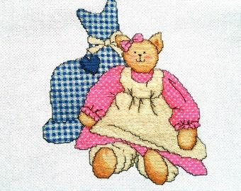 Gingham Cat cross stitch