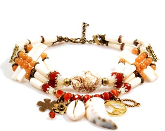 Choker necklace beaded - cream, red, tangerine orange, gold - shell, red adventure, sardonxy - shark tooth, shell, peace - gypsy - hippie