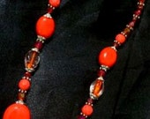 Western style Orange reddish with pendant necklace and earrings Jewelry set  FREE Shipping to USA