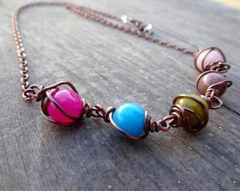 Candy Fun Copper Wire Wrapped Multi-colored Quartz handmade crystal Necklace Jewelry Pink Blue Green Brown Rose Quartz Dyed Quartz Beads