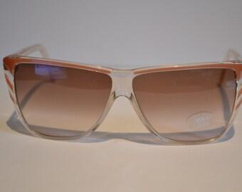 Vintage Vemor Italian Clear & Milky Brown D-frame Sunglasses