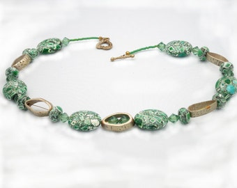 """SALE!! - Interesting Green Mosaic & Wood Beads, 20"""" Necklace -- REDUCED!! (N127)"""