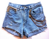 SALE Angel LUXE High Waisted Vintage Cut-Off Studded Short with Chains - Limited Design ..Copper, Gold Chains & Bling