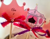 Princess birthday party cupcake toppers, princess birthday party, personalized and printed princess party cupcake toppers and favor tags