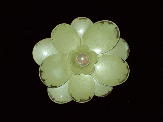 Another Great Enameled Flower Brooch in Soft Mint Green with Feathered Bronze Edges and a Pearl Center