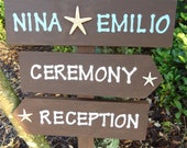 Beach Wedding Directional Sign Starfish Reclaimed Wood Wedding Sign