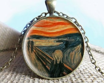 The Scream Painting Pendant/Necklace Jewelry, Fine Art Necklace Jewelry, Edvard Munch Photo Jewelry Glass Pendant Gift