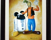 "Laser print 8""x11"": ""Disneywars"". R2D2 and C3PO after been bought by Walt Disney, as Mickey Mouse and Goofy.Star wars inspired"