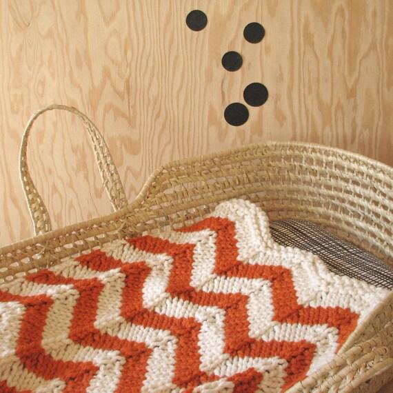 Sale / Knitted Chevron Baby blanket for Bassinet, Stroller, or Car Seat in Orange/Cream