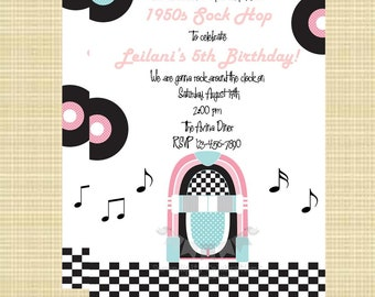 50's Invitation - Use for Birthday, Baby Shower, Birth Announcement