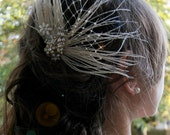 Peacock feather and crystals bridal hair clip.