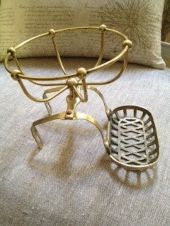 Vintage Brass Claw Foot Tub Soap and Sponge Dish