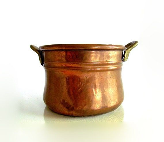 Handmade Rustic Vintage Solid Copper Pot with Brass Handle Made in Turkey