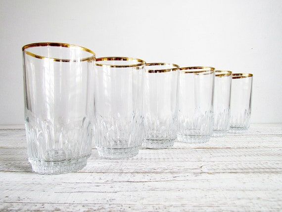 Vintage Pasabahce Gold Rimmed Highball Glasses - Set of 6