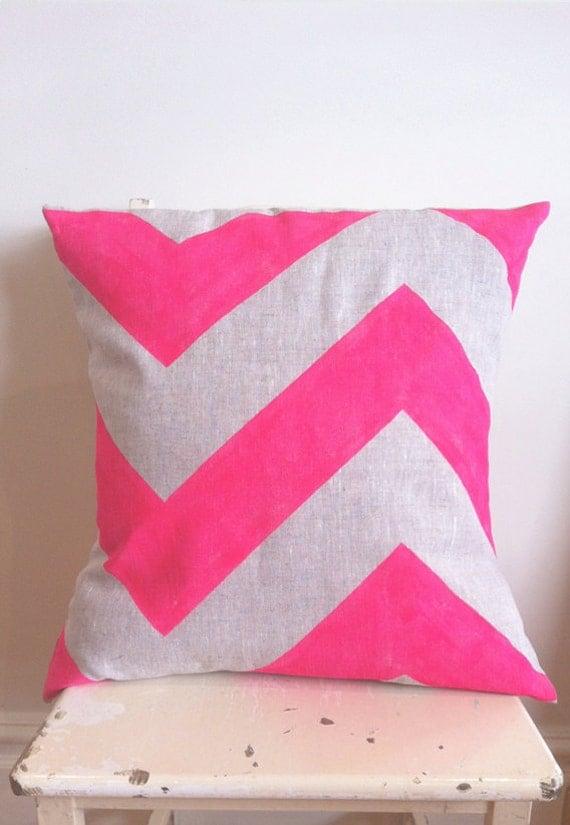 Neon Pink Fat Chevron - Cover only - Wildly comfortably throw cushion in neon pink, for your home.
