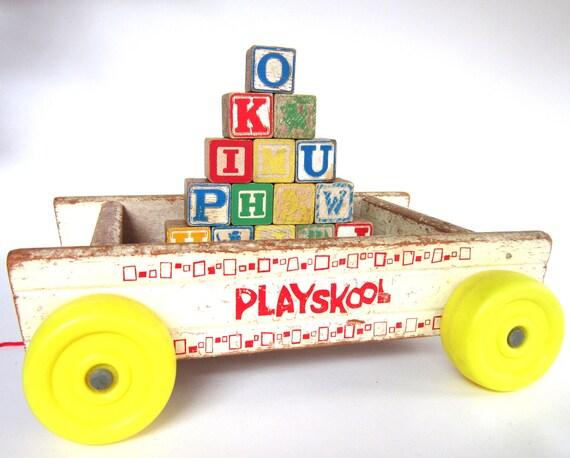 Vintage Wooden Playskool  Wagon with Alphabet Blocks, 1960s Antique Baby Toy