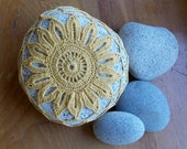 ON RESERVE   Lace, Golden Sunflower, Crocheted Beach Rock, Stone, Wedding Decor, Favor, Keepsake, Stress Relief