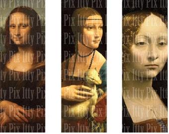 Leonardo daVinci Digital Collage Sheet - 1 x 3 inch rectangle digital collage - microscope slide collage sheet - Instant Download