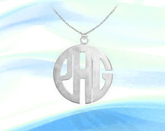 Monogram Initial Necklace - 1 inch Sterling Silver Handcrafted - Personalized Monogram Necklace  - Made in USA