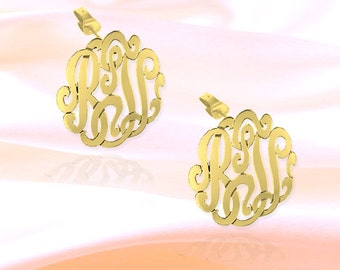 Monogram Earrings - .75 inch 24K Gold Plated Sterling Silver - Personalized Monogram Earrings - Made in USA