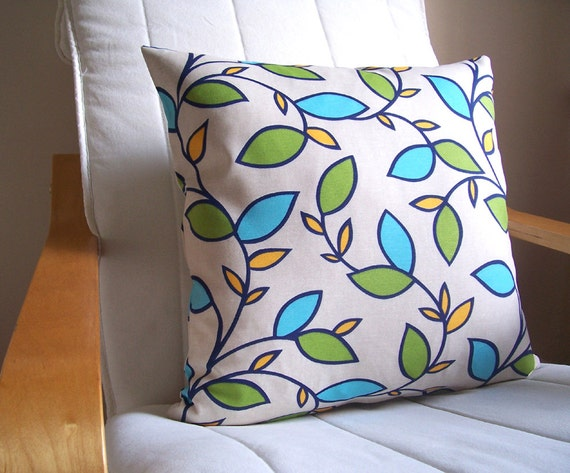 Decorative pillow - 18'' x 18'' - pillow case - on Ecru background, navy, light blue, green, yellow leaf patterned