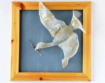 Metal art - Flying Bird - Wall Decor Hanging Framed - Metal sculpture - Contemporary art