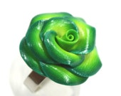 Elegant rose ring, adjustable green ring, polymer clay rose ring in greens and white flower, unique greens rose ring