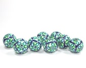 Polymer Clay round beads, elegant beads in a variety of greens, blue and white, unique pattern, Set of 8 Millefiori beads