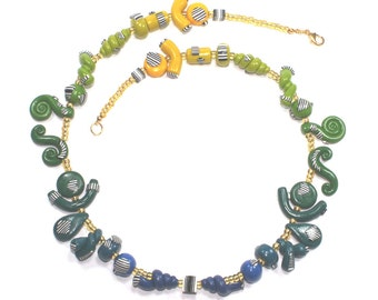Yellow, green and blue ombre elegant necklace, Polymer clay necklace, one of a kind necklace with fine stripes.