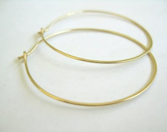 Gold hoop earrings, simple thin 14k gold filled hoops