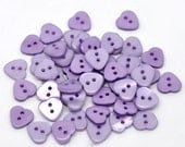 Heart Shaped  Resin Plastic Buttons Two Holes Purple  20 Pack PB18