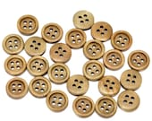 20 Round Wood Button Four Hole Honey Colour 15mm - 20 Pack PWB23