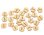 20 Mini Apple  Button Wood Two Hole Lightly Lacquered 13x12mm Pack of 20