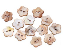 10 Shell Button Flower Shaped Brown 14mm  - 10 Pack (AB36)