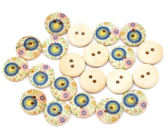 10 Floral (Design no.1) Painted Wood Button Two Hole Natural Wood Colour 15mm - 10 Pack NPB04