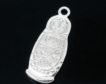 10 Silver Coloured Russian Babushka Doll Charms 29 x 12mm - Pack of 10 CP43
