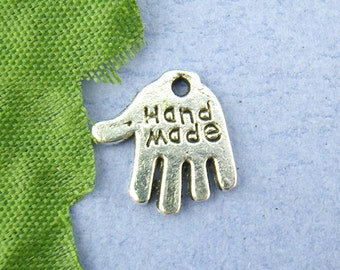 """20  Antique Silver Coloured """"Hand Made"""" Charm Pendant 11mm x 12mm  - Pack of 20 CP02"""