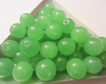 9mm Green Glass Beads Approx 56