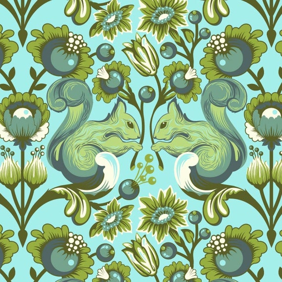 Tula Pink Pool Squirrels- 1/2 Yard - Birds and Bees Collection - Floral Fabric - Blue Fabric - Blue and Green Print Fabric - Squirrels
