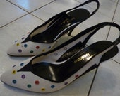 AWESOME Party Shoes- White Woven Colorful Fun Slingback High Heels Size 7 1/2 Sacha London
