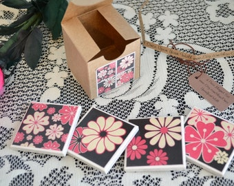 4 piece ceramic tile magnet set in gift box pink white flowers retro clearance sale