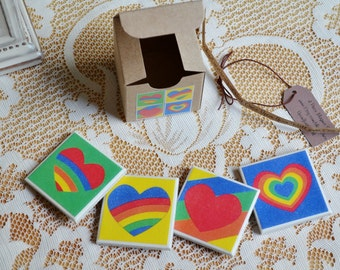 4 piece ceramic tile magnet set in gift box colorful rainbow hearts clearance sale